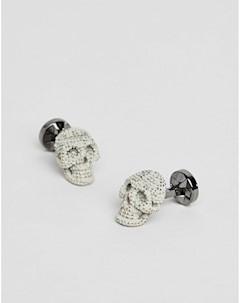 Серые запонки в виде черепа Серый Twisted tailor