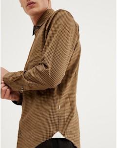 Коричневая рубашка узкого кроя в клеточку Mypop Коричневый Boss