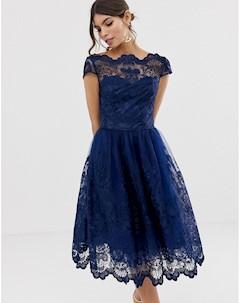 Темно синее кружевное платье миди премиум качества с короткими рукавами Chi chi london