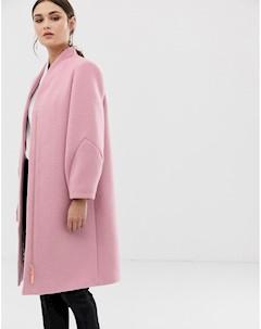 Шерстяное пальто с эффектными рукавами Bllair Розовый Ted baker london