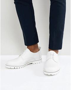 Белые кожаные туфли на шнуровке Zign