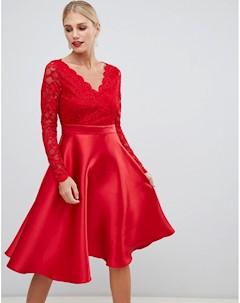 Платье для выпускного с кружевными рукавами City goddess