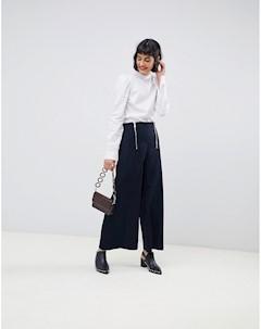 Укороченные широкие брюки Темно синий Max&co