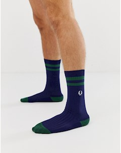 Темно синие спортивные носки с отделкой Темно синий Fred perry
