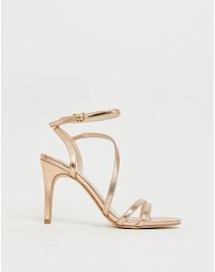 Босоножки на каблуке цвета розового золота Delly Faith
