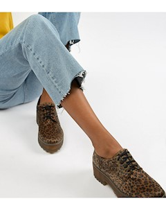 Коричневые броги с леопардовым принтом и шнуровкой Мульти Monki