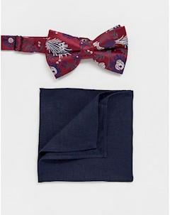 Бордовый галстук бабочка и темно синий платок паше Мульти Asos design