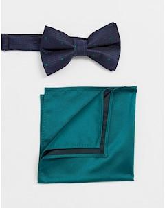 Темно синий галстук бабочка и зеленый платок паше Зеленый Asos design