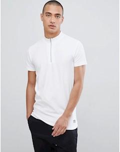Белая футболка из пике с молнией Lindbergh