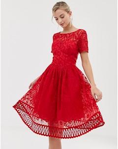 Красное премиум платье для выпускного с кружевом Chi chi london