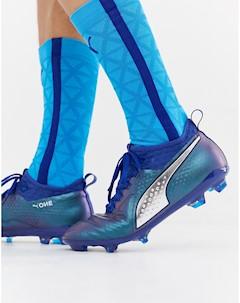 Темно синие кожаные футбольные бутсы One 2 Темно синий Puma