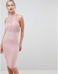 Платье с плиссировкой и высокой горловиной City goddess