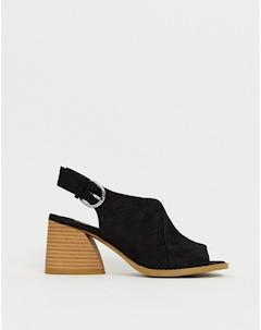 Черные босоножки на блочном каблуке с ремешком через пятку Dani Faith