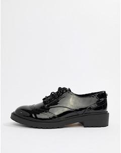 Черные лакированные броги на шнуровке Ace Faith