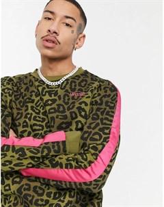 Свитшот с полоской на рукаве и леопардовым принтом в камуфляжном стиле WеSC Miles Wesc