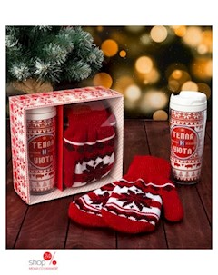 Подарочный набор Тепла и уюта термостакан варежки 19 цвет красный Joy