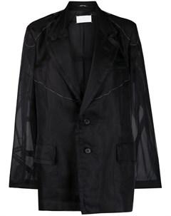 Однобортный пиджак с прозрачными вставками Maison margiela