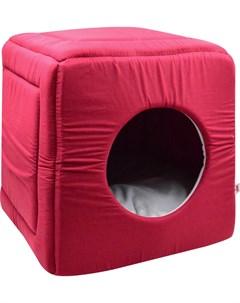 Дом для кошек куб трансформер поплин 1 42 42 40 см бордо 766511 Zooexpress