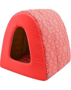 Дом для кошек туннель Геометрия бязь 2 42 50 35 см коралловый 760327 Zooexpress