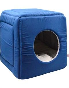 Дом для кошек куб трансформер поплин 1 42 42 40 см темно синий 766512 Zooexpress