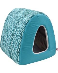 Дом для кошек туннель Геометрия бязь плюш 2 42 50 35 см морская волна 761028 Zooexpress