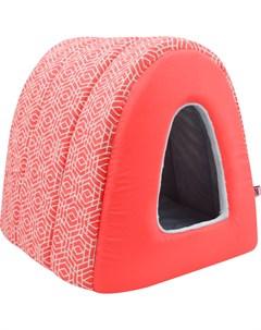 Дом для кошек туннель Геометрия бязь плюш 1 34 40 34 см коралловый 761017 Zooexpress