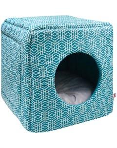 Дом для кошек куб трансформер Геометрия бязь 1 42 42 40 см морская волна 761418 Zooexpress