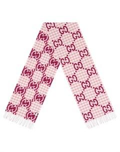 Жаккардовый шарф в клетку с логотипом GG Gucci
