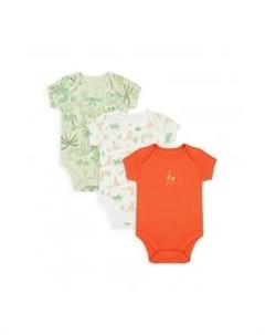 Боди Кенгурята 3 шт зеленый белый оранжевый Mothercare