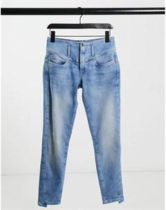 Синие выбеленные джинсы скинни с завышенной талией и средней посадкой Mystery Salsa