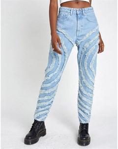 Голубые джинсы в винтажном стиле с круговыми изношенными вставками The ragged priest