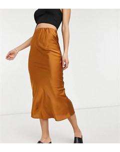 Светло коричневая атласная юбка миди косого кроя ASOS DESIGN Tall Asos tall