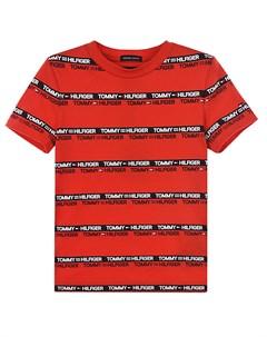 Красная футболка в черную полоску детская Tommy hilfiger
