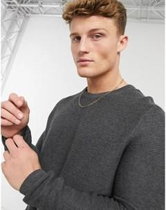 Серый трикотажный свитер с круглым вырезом Tom tailor