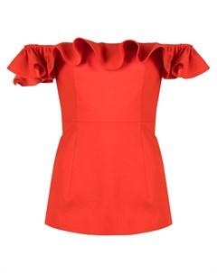 Блузка с открытыми плечами и оборками Huishan zhang