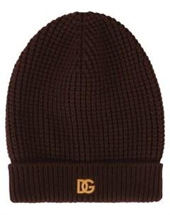 Вязаная шапка бини с вышитым логотипом Dolce&gabbana