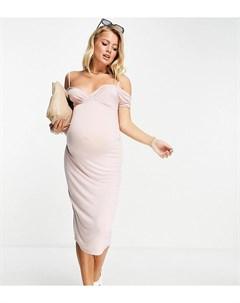 Бежевое платье миди с открытыми плечами и глубоким вырезом ASOS DESIGN Maternity Asos maternity