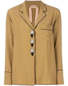 Рубашка в пижамном стиле с декоративными пуговицами No21