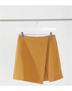 Темно горчичная юбка шорты с запахом ASOS DESIGN Tall Asos tall