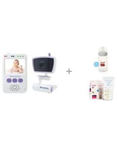 Видеоняня 55931 с бутылочкой AB2100 и пакетами для грудного молока Breastmilk Bags Ramili Moonybaby