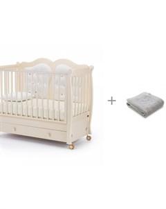 Детская кроватка Affetto Swing продольный маятник и Плед Kogankids 95x95 см Nuovita