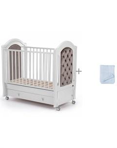 Детская кроватка Grazia swing продольный маятник и Плед Little me Косы Nuovita