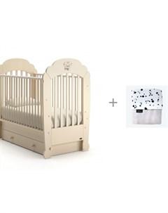 Детская кроватка Parte swing маятник поперечный и Плед Mjolk двухсторонний теплый Nuovita