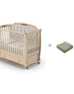 Детская кроватка Furore Swing продольный маятник и Плед Kogankids 95x95 см Nuovita