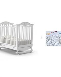 Детская кроватка Sorriso dondolo качалка и Плед Mjolk Двусторонний Basic Горошки Nuovita