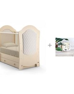Детская кроватка Tempi Swing поперечный маятник и Плед Mjolk двухсторонний Кляксы Nuovita