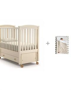 Детская кроватка Perla solo swing продольный маятник и Плед AmaroBaby Растём вместе Мышонок Nuovita