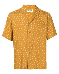 Рубашка с короткими рукавами и цветочным принтом Saint laurent