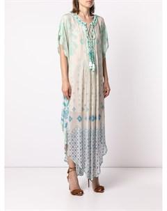 Платье кафтан с геометричным принтом Hemant & nandita