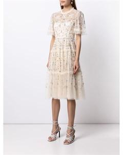 Платье с цветочной вышивкой и пайетками Needle & thread